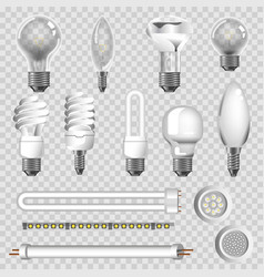 3d lamps types led bulbs isolated icons vector image