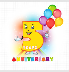5 anniversary funny digits vector image