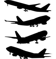 airplane silhouette set vector image