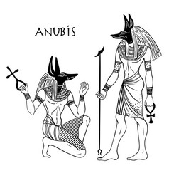 Anubis in ancient egyptian god of death vector