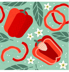 bell pepper seamless pattern leaves flowers vector image