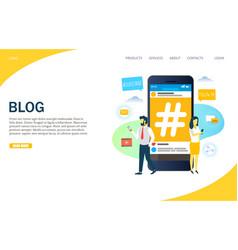 blog website landing page design template vector image