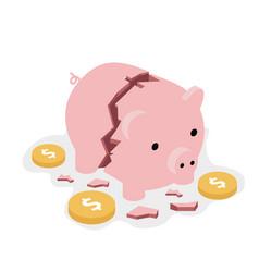 Broken piggy bank money safe with coins concept vector