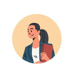 Brunette businesswoman avatar woman face profile vector