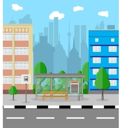 Bus stop in city road trees trash bin clouds vector