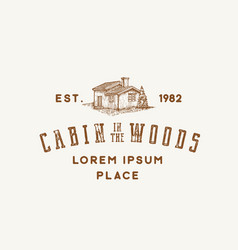 Cabin in woods abstract sign symbol vector