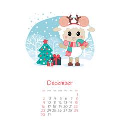 Calendar 2018 months december with sheep vector