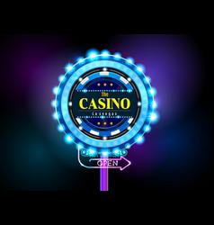 casino sign neon light outdoor vector image