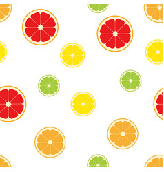 Citrus fruits slice pattern seamless vector