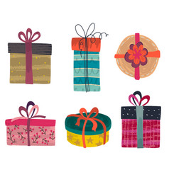 collection colorful gift boxes vector image