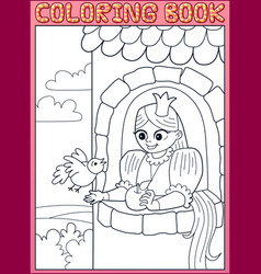 coloring book long hair little princess in tower vector image