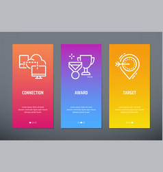 Connection award target vertical cards with vector