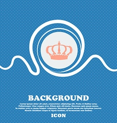 Crown sign icon Blue and white abstract background vector image