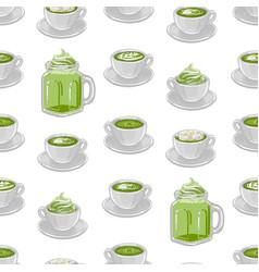cups matcha coffee or tea with milk botanical vector image