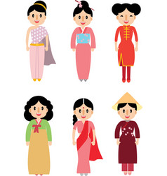 cute lady in asian traditional dress vector image