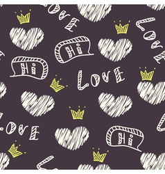 Dark doodle love seamless pattern vector image
