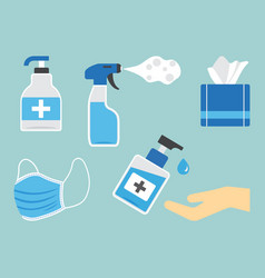 Disinfection hygiene set sanitizer bottles vector