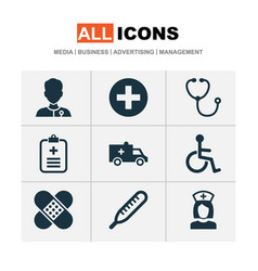 Drug icons set with brougham medic data and vector