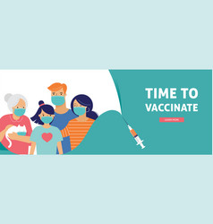 family vaccination concept design time to vector image