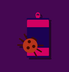 Flat icon design collection canned and spider in vector