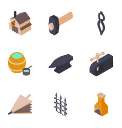 forging house icons set isometric style vector image