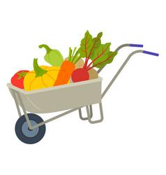 fresh harvest in cart vegetable in trolley vector image