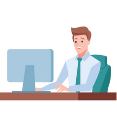 Gentleman sit on desk and working on computer vector