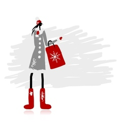 Girl in winter coat with shopping bag for your vector