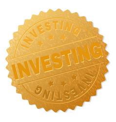 Golden investing medal stamp vector