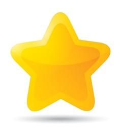 Golden star icon for rating on white background vector image