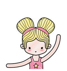 Grated girl practice ballet with two buns hair vector