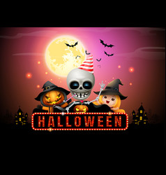 Halloween night full moon party fancy sign vector