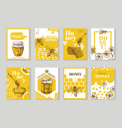 Hand drawn honey posters natural honey packaging vector