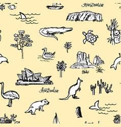 Hand drawn pattern with australian animals vector