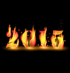 Happy New Year 2015 by blaze fire flame vector image