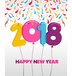 Happy new year 2018 party balloon greeting card vector