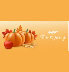 Happy thanksgiving concept banner realistic style vector