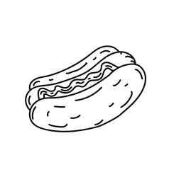 Hotdog icon doodle hand drawn or black outline vector