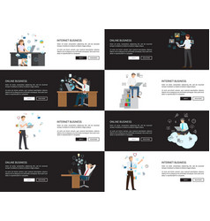 internet business pages set vector image