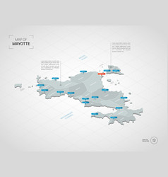 isometric mayotte map with city names and vector image