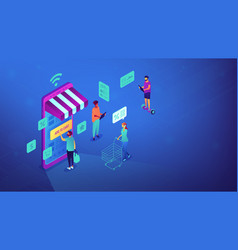 Isometric online shopping and wi-fi vector