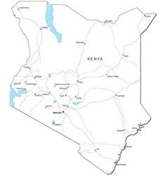 Kenya Black White Map vector image