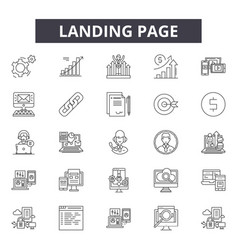 landing page line icons signs set vector image