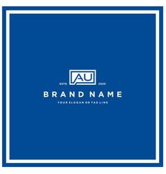 Letter au rectangle logo design vector