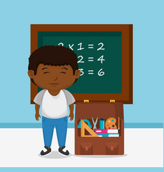 little afro schoolboy with chalkboard vector image