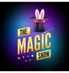 Magic poster design template Magician logo vector