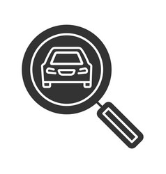 Magnifying glass with car glyph icon vector