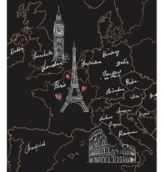 map with sights europe on blackboard vector image