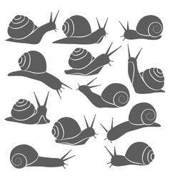 Monochrome snails icon set vector