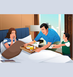 Mother getting breakfast in bed surprise on vector